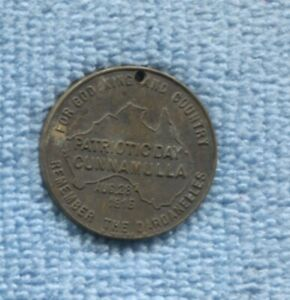1915 WW1 Medal Patriotic Day Cunnamulla Remember the Dardanelles  S-710