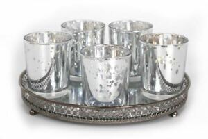 Set of 5 Silver Mercury Glass Votive Candle Tealight Holders With Tray Base