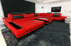 Designersofa Luxus Mezzo Xxl Mega Wohnlandschaft Rot Schwarz