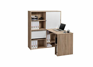 minioffice schreibtisch tisch regal kombination mod mj132 sonoma eiche wei ebay. Black Bedroom Furniture Sets. Home Design Ideas