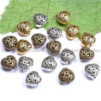 10Pcs Tibetan Silver Heart Shaped Hollow Spacer Beads For Jewellry 13MM BE23