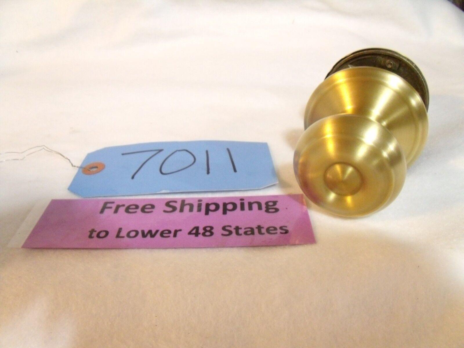 (3 knobs) Schlage F10 Geo 608 Door Knob - Hall & Closet Satin Brass  Free Ship