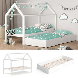 VITALISPA Kinderbett WIKI 90x200 Weiß Schlafplatz Unterbett Hausbett Kinderhaus