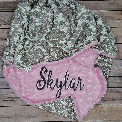 Baby Girl Blanket Dynasty Grey Pink Minky Personalized Monogram Blanket Toddler