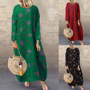 ZANZEA-Women-Long-Sleeve-Round-Neck-Midi-Dress-Oversize-Kaftan-Shirt-Dress-Plus