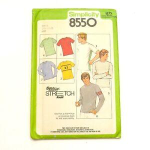 Factory Fold 1970s Mens Knit Shirt Pattern 36 38 40 Simplicity 8550 Uncut