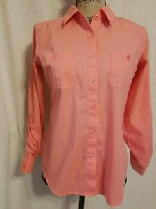Chicos Womens Size XS Blouse Long Roll Tab Sleeves Button Up Pockets Orange