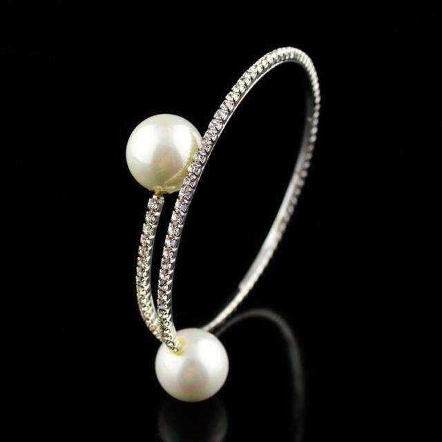 Women Elegant Crystal Rhinestone Hoop Double Pearl Bracelet Bangle Gift