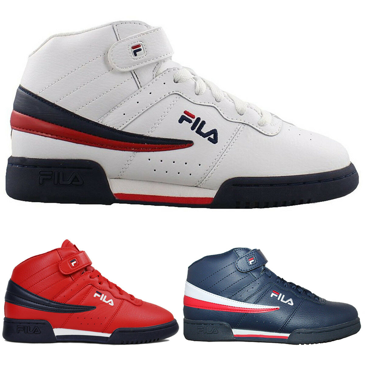 3576453752 Mens Fila F13 F-13 Classic Mid High Top Basketball shoes NAVY RED 1VF059LX