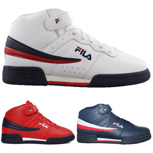 6d9d7961e345 Mens Fila F13 F-13 Classic Mid High Top Basketball Shoes NAVY RED ...