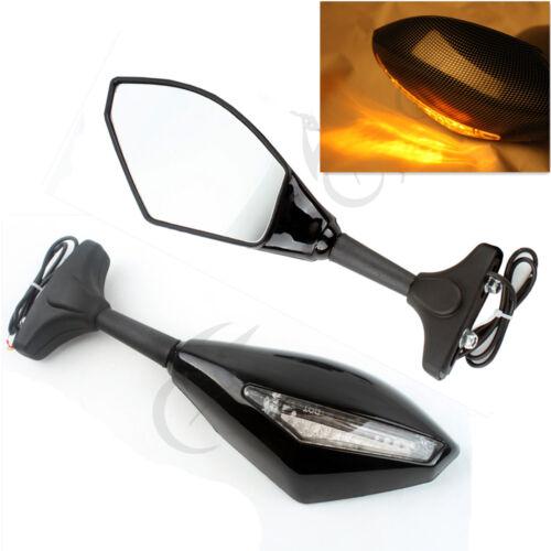 Black Rearview Mirrors w/ LED Turn Signal Light Len For Honda CBR600RR CBR1000RR