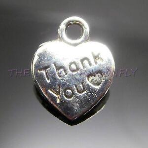 Thank-You-Tibetan-Silver-Heart-Charms-Beads-Pendant-Wedding-Favours-25-50-100-UK