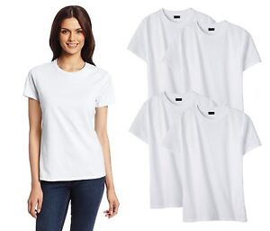 4-Pack-Set-Hanes-Womens-Crew-Cotton-Relax-Fit-Tee-Short-Sleeve-Blank-T-Shirts