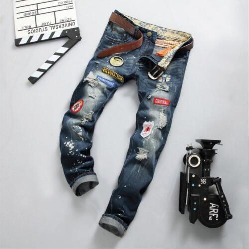 Nouveau Hommes Trou insigne broderie European American Style Denim Fashion Casual Jeans