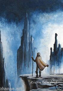 ORIGINAL-ACEO-card-watercolor-painting-man-over-rock-landscape-miniature-art