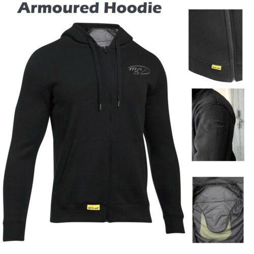 Max5 Motorcycle Fleece Hoodie Armoured Jacket Zip Protective Pads CE Armour Ride