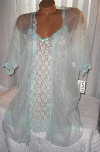 Stretch-Lace-Chemise-and-Robe-Set-S-M-L-Short-Nightgown-Mint-Green-2-Piece