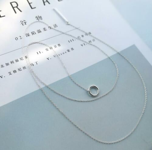 925 Sterling Silver Circle Bar Adjustable Long Chain Lariat Y Necklace A2137