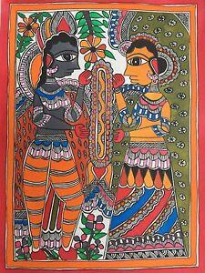 Original-Madhubani-Mithila-Painting-Hindu-God-Ram-Sita-Handmade-Indian-Folk-Art