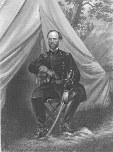Civil War Union General WILLIAM TECUMSEH SHERMAN ~ 1863 Art Print Engraving RARE