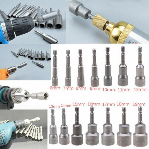 6~19mm 1//4/'/' Hex Socket CR-V Magnetic Nut Driver Set Adapter Single Item or 1set
