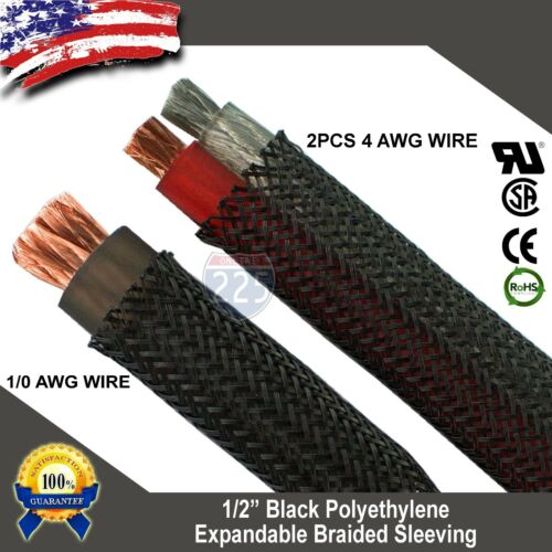 """20 FT 1//2/"""" Black Expandable Wire Cable Sleeving Sheathing Braided Loom Tubing US"""