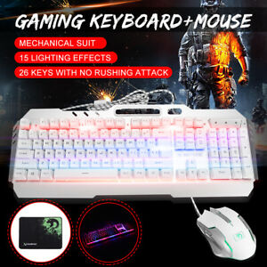 Gaming-Keyboard-Mouse-Pad-LED-Backlit-Mute-Ergonomic-Wired-Mechanical-White