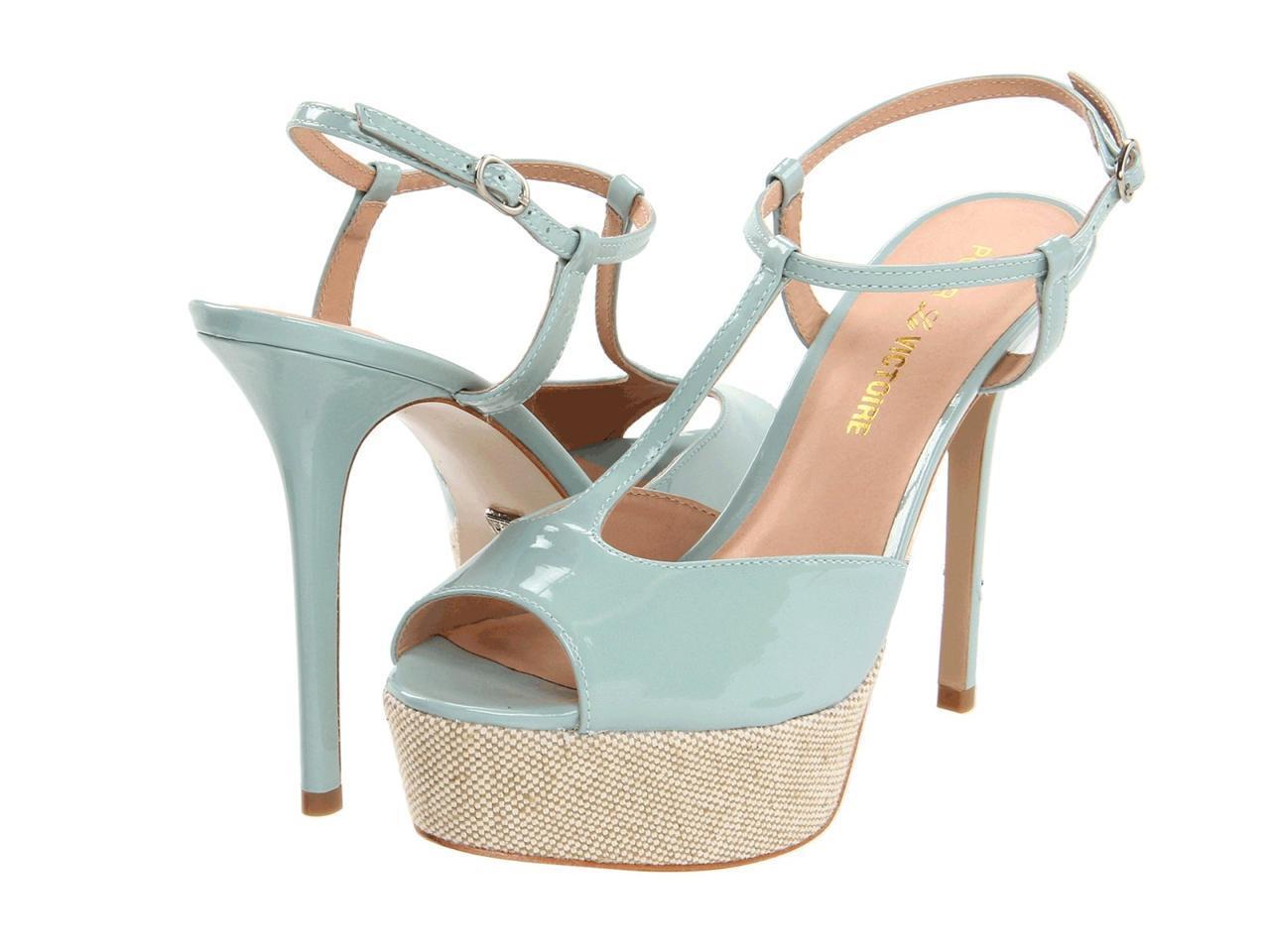 Pour La Victoire Vicenta Seafoam Soft Patent Sandal T strap peep toe platform