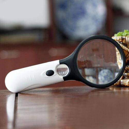 11CM Hand 45X Vergrößerungsleseglasobjektiv-Schmuck-Lupe mit 3 LED-Licht ZJRSDE