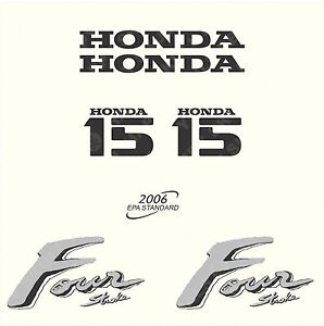 Honda 15 hp Four Stroke outboard engine decal sticker set reproduction