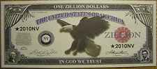 American Bald Eagle Zillion Dollars US USA Fun Play Money Gift Bill Novelty