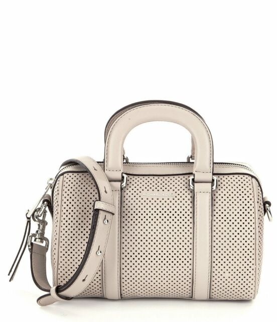 Michael Kors Libby Perforated Leather Small Satchel Cement Grey