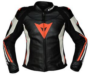 Dainese-Assen-Lady-Damen-Motorradjacke-Motorrad-Lederjacke-schwarz-weiss-fluo-rot