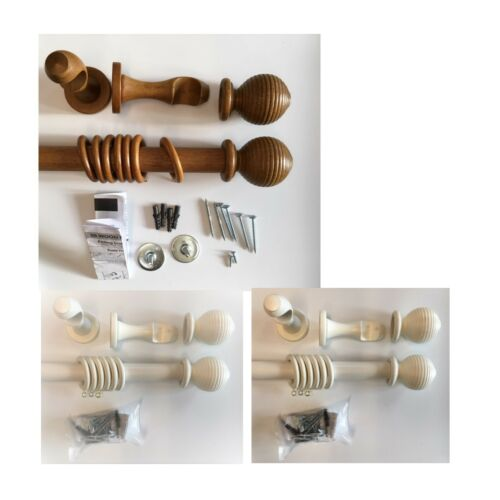 CLEARANCE 28mm Wood Curtain Pole Complete pole set Wooden Ribbed Ball Finial