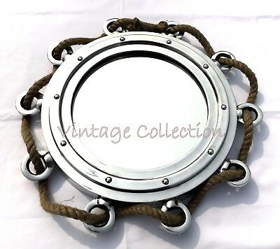 "15"" Aluminum Jute Rope Porthole Mirror Antique Nautical Home Wall Decor Mirror Antiques Maritime Portholes & Hatches"