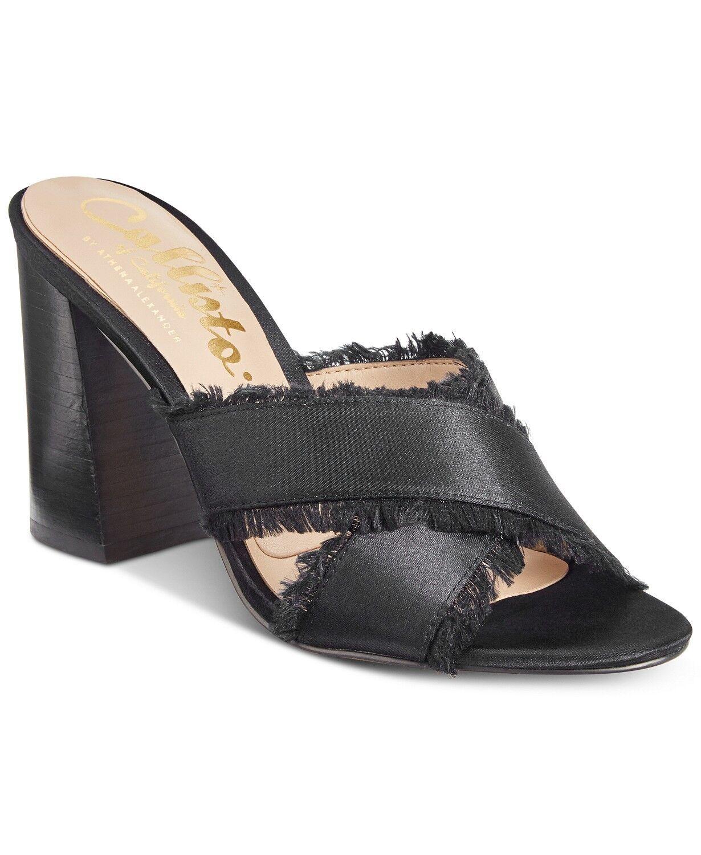Callisto Monakko Block-Heel Dress Sandals Size 7 Black Satin Retail  100