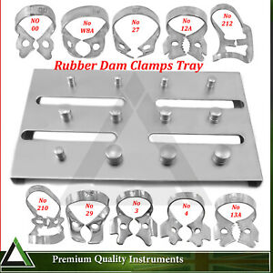 Rubber Dam Clamps With Holding Tray  Dental Endodontic Restorative And Lab Tools