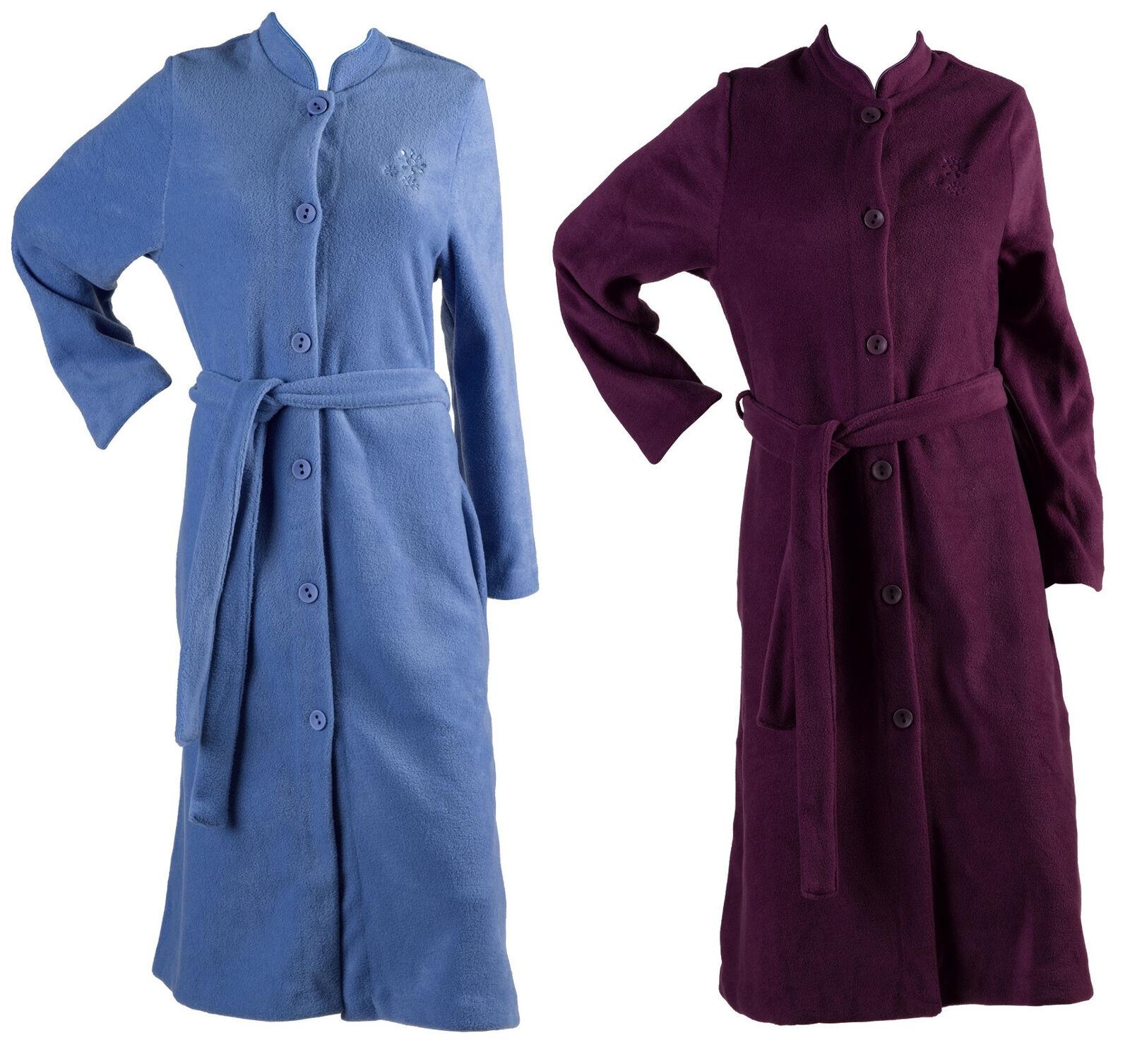 Pour Femme Doux Polaire Broderie Fleur Robe de Chambre Boutonné Robe de Chambre