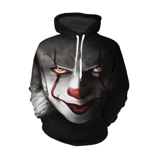 2017 cappuccio 1990 Felpe Stampa King con 3D Cosplay Horror Movie Pennywise Stephen Clown wqwOYTZ