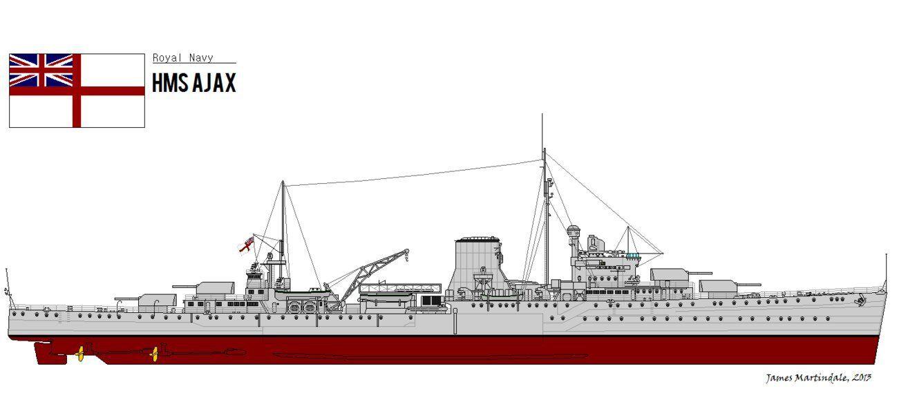 1  350 4230 - HMS Ajax 1941 - Leander klass ljus Cruise - hkonsts modelllllerler Kit