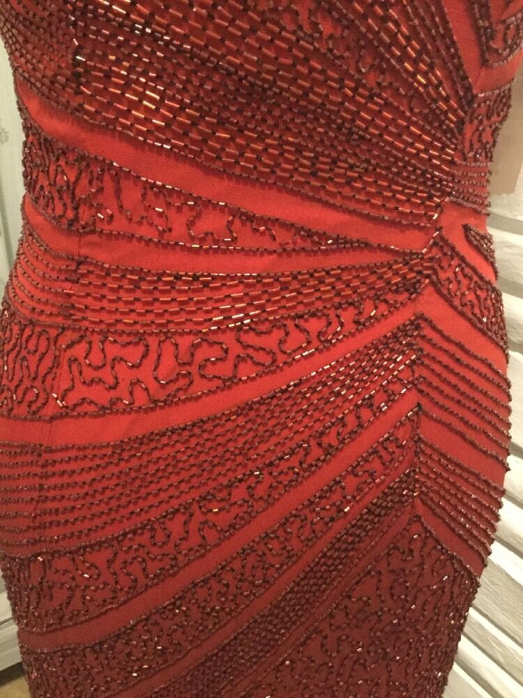 Womens Mia Bella Red Ombré Beaded Dress W  Terani Couture Flair Holiday S 4 6
