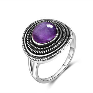 Classic Vintage Ring 925 Silver Plated Cap Shape Amethyst Moonstone Jewelry Gift