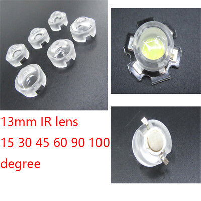 10X 13mm mini IR Lens 15 30 45 60 90 100 Degree For LED Diode Convex Reflector