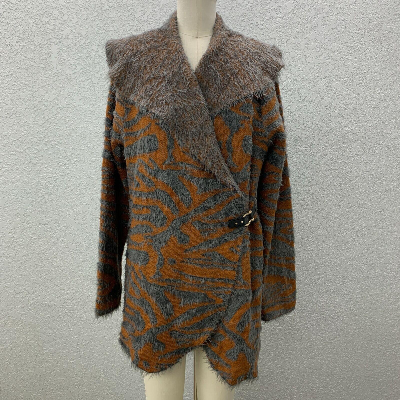 Black Rivet Faux Fur Jacket Women's L Orange Gray Side Hook Long Sleeve Collared