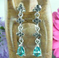 ELEGANT Sterling Silver MARCASITE & BLUE TOPAZ Long Drop Earrings
