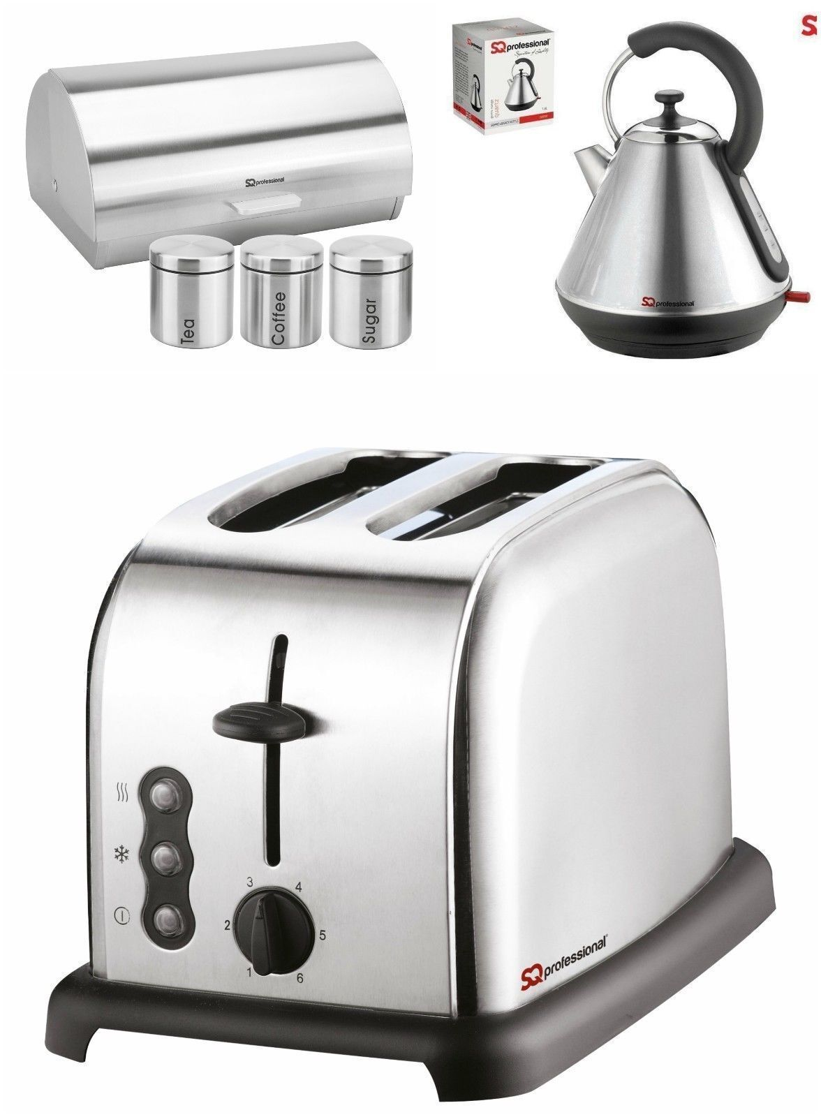 Sq Pro Metallic Range 6pc set  Kettle Toaster  BreadBin with 3 Canisters