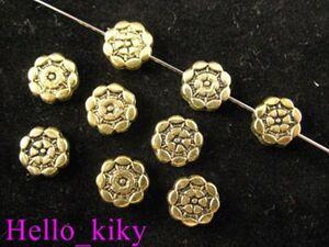 100Pcs-Antiqued-gold-plt-Aztec-Round-Flat-bead-8mm-A185