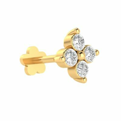 Details about  /Real 18kt Yellow Gold 8.20 mm Nose Lip Labret Piercing Ring Stud Screw Pin