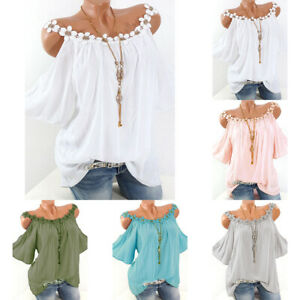 Plus-Size-Womens-Cold-Shoulder-Loose-Casual-Tunic-Tops-Blouse-Summer-Tee-T-Shirt