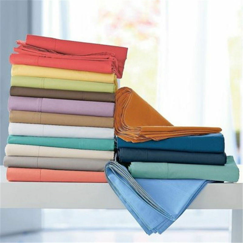 1000TC 100%EGYPTIAN COTTON 3PC FLAT SHEET SET ALL RV-SIZE SOLID COLOR & US-SIZES